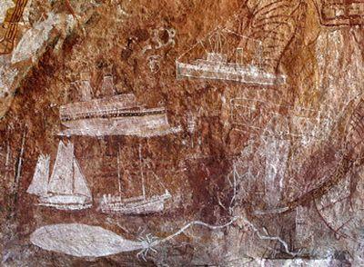 Самолёты и пароходы смешали века в наскальной живописи